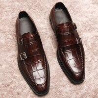 Туфли оксфорды ручной работы в британском стиле с ремешком в виде монах; модельные туфли на плоской подошве; мужские туфли; цвет красный, чер