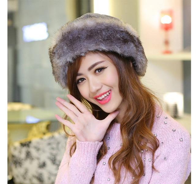 ecc051e409d Fashion Cossack Style Women Lady Faux Fur Russian Winter Soft Ski Hats Warm  Round Flat Cap Female Headgear