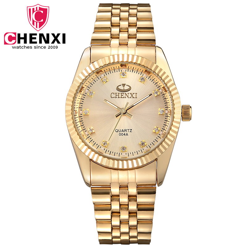 CHENXI Gold Watch Men Full Steel Man Clock Quartz-watch Fashion Golden Luxury Male Watch With Diamond De Luxo Relogio Masculino