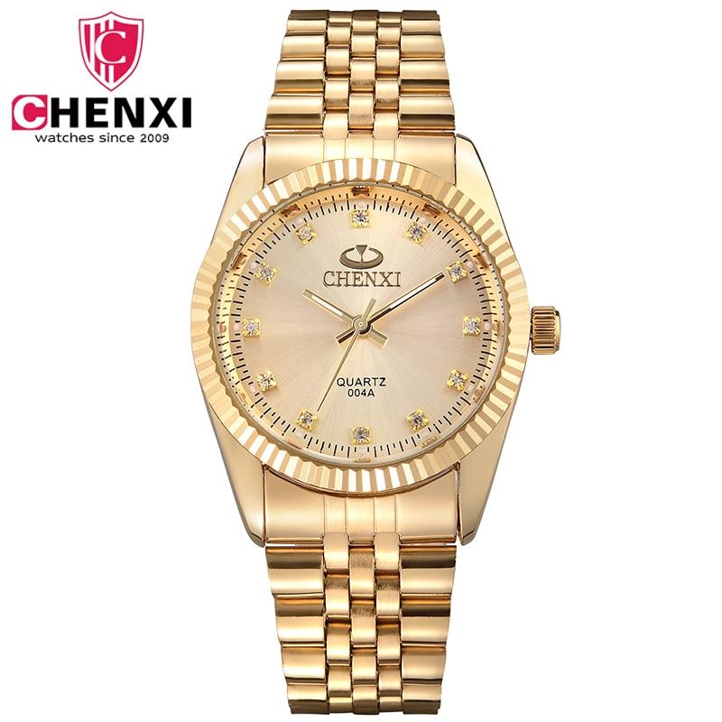 CHENXI Gold Watch Men Full Steel Man Clock Quartz-watch Fashion Golden Luxury Male Watch With Diamond De Luxo Relogio Masculino chenxi steel strap tachymeter quartz watch