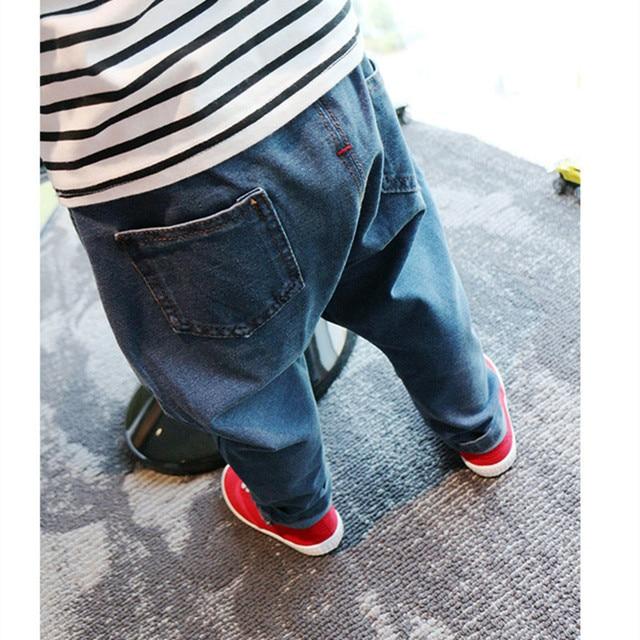 Дети мальчики 2016 весной свободного покроя завышенной талией симпатичный мальчик шаровары дети п . п . крах брюки джинсы мальчики брюки джинсовые брюки
