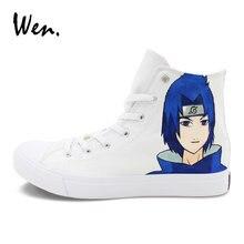 Wen Woman Man Anime Shoes Custom Design Naruto Uzumaki Sasuke Hand Painted  Shoes Skateboarding Sport Sneakers fc7d96961c2c