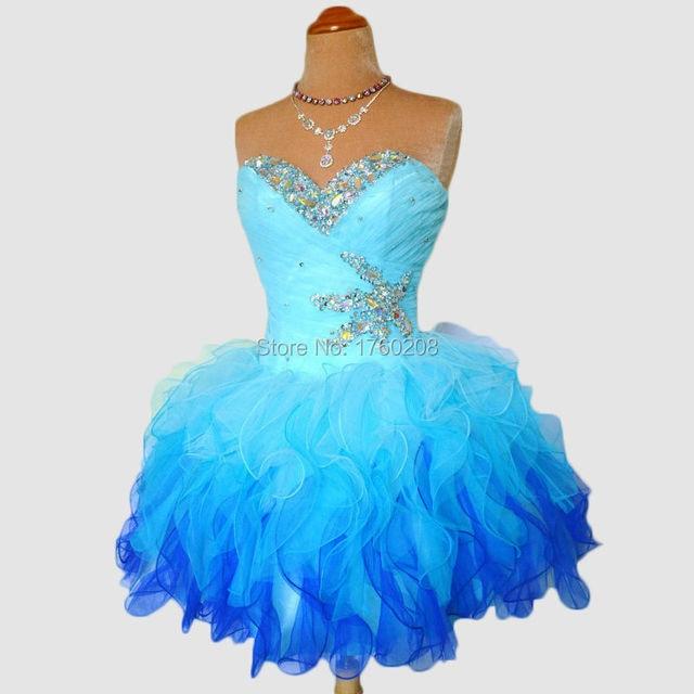 36dcdf08e0e Cute Beading Crystal Ruffled 8th Grade Graduation Prom Dresses Short  Rainbow Homecoming Dresses 2015