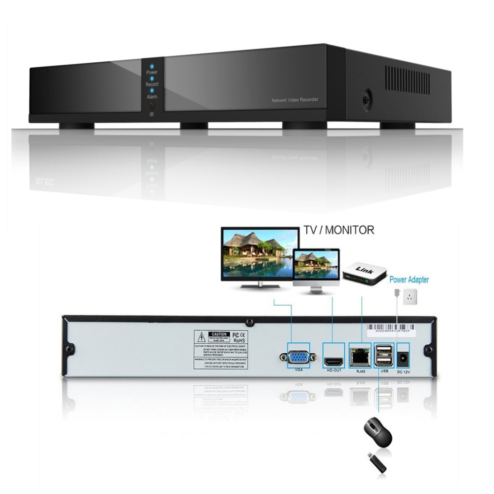 Seculink 8 canales PoE NVR 1080P ONVIF Network Video Recorder Alta definici/ón H.264 Compression Cloud P2P Control remoto Detecci/ón de movimiento