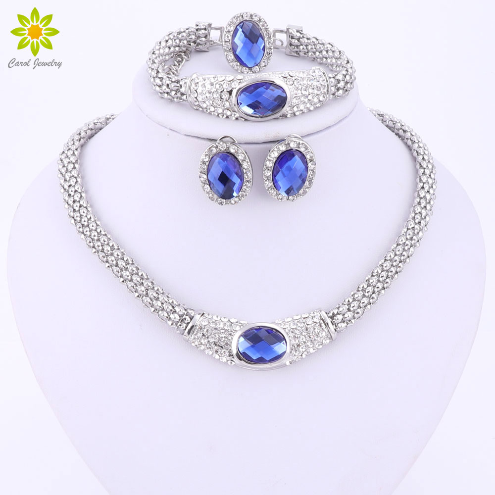Fashionable Jewelry Sets For Women Blue Oval Pendant Crystal Necklace Earrings Bracelet Ring Silver Plated Wedding Jewelry Sets