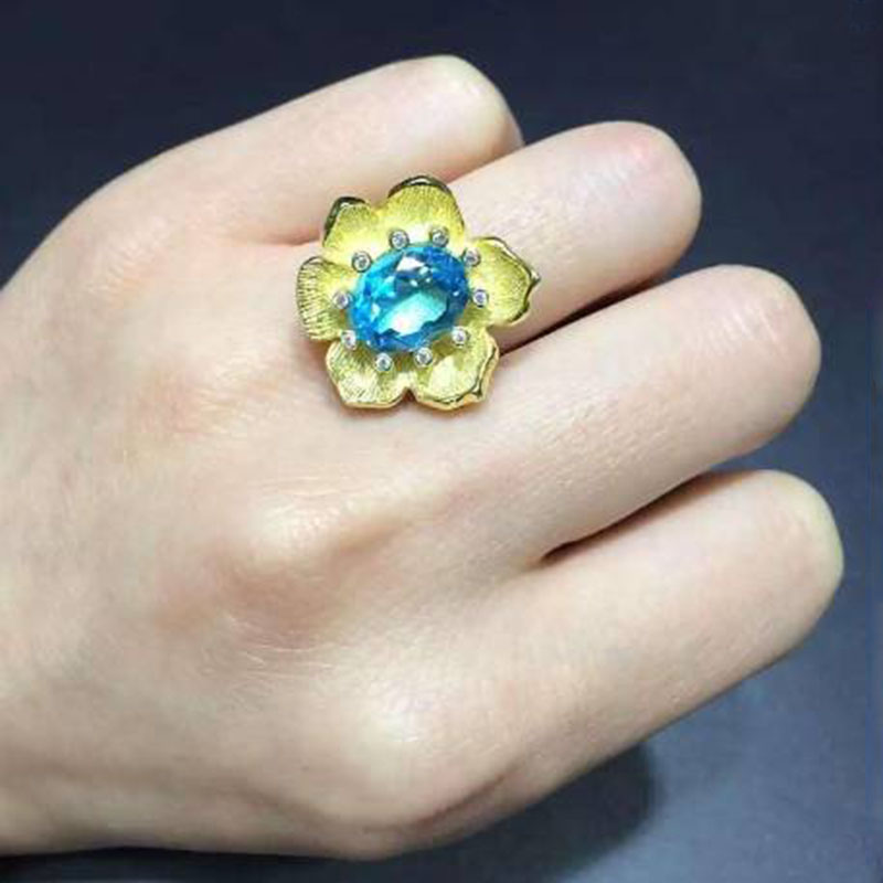 Anillos Qi Xuan_Blue Stone Flower Jewelry Rings_Finger Rings_S925 Solid Silver Fashion Blue Ring_Manufacturer Directly Sales 2017 anillos jewelry qi xuan