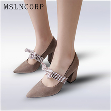 plus size 34-45 New women pumps fashion new design comfortable square heels quality high Pointed Toe Butterfly knot Sweet Shoes