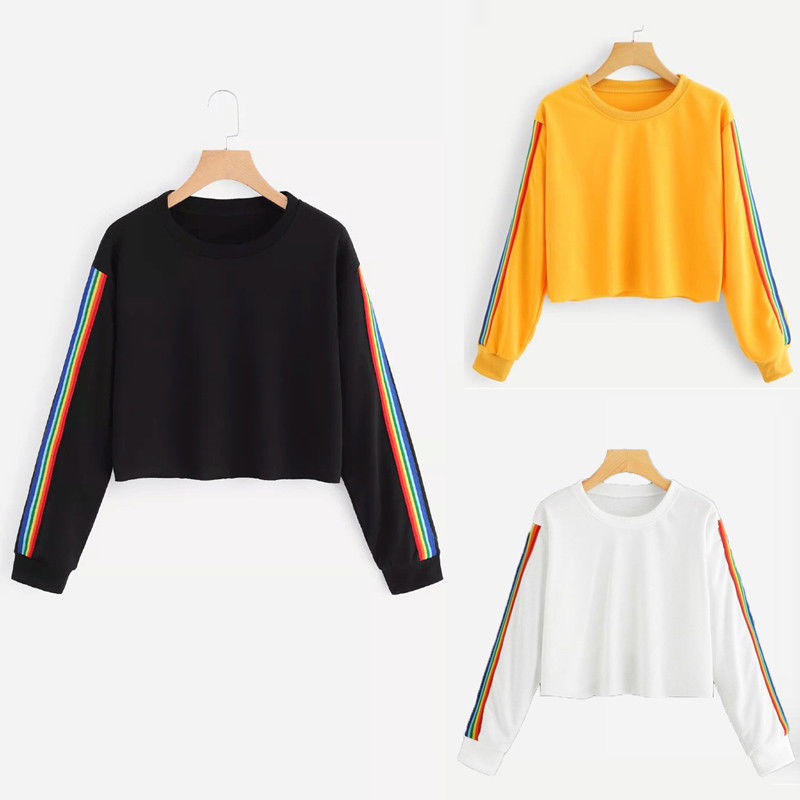 Brand 2019 New Women Spring Autumn Rainbow Stripe Cute Patchwork Long Sleeve Crew Neck Loose Crop Top Casual Short Hoodies