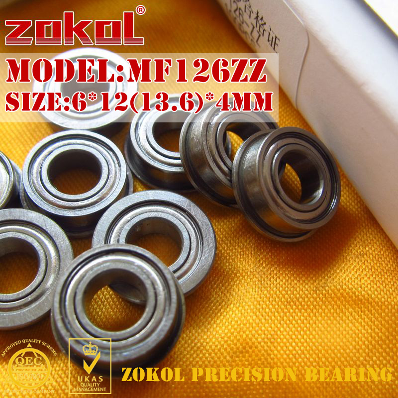 ZOKOL MF126 ZZ Bearing MF126ZZ Flange Bearing MF126-ZZ Deep Groove Ball Bearing 6*12(13.6)*4mm
