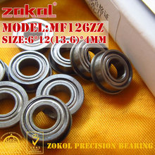 ZOKOL MF126 ZZ bearing MF126ZZ Flange bearing MF126-ZZ Deep Groove ball bearing 6*12(13.6)*4mm(China)