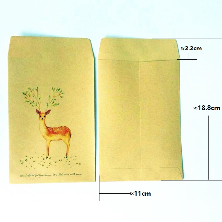 10pcs/lot  Cute Deer Series Kraft Paper Envelopes Kawaii Gift Envelope For Wedding Invitation Envelopes Postcard