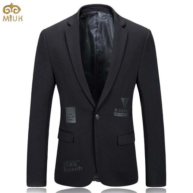Miuk gran tamaño de impresión de la moda traje de chaqueta de los hombres marca de ropa xxxl xxl negro hombres blazer slim fit blazer masculino 2017 nuevo