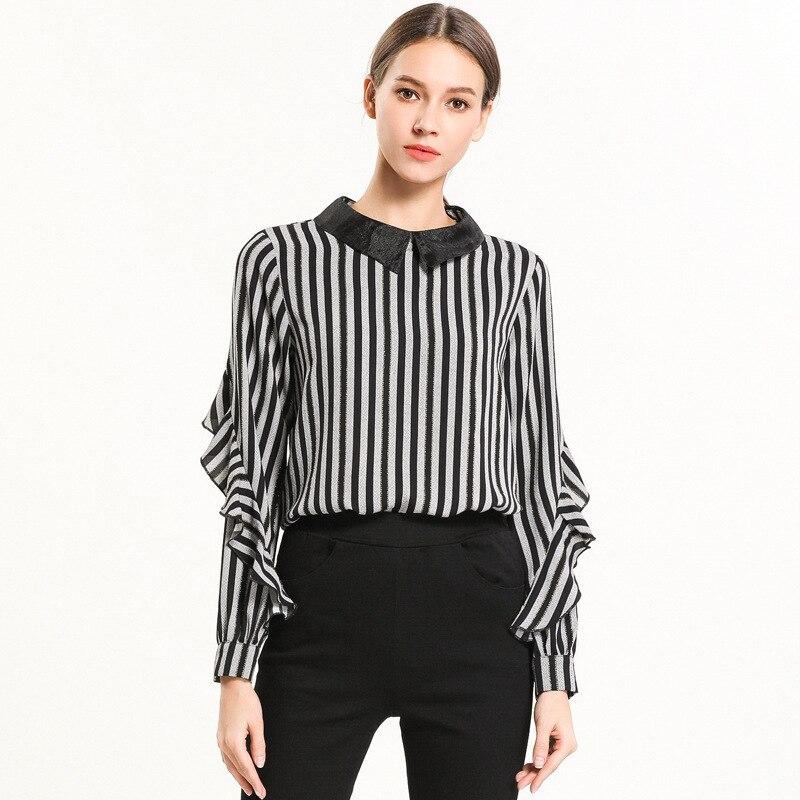 2019 printemps bureau dames imprimé rayure chemise OL tempérament ébouriffé manches longues blouse col claudine hauts grande taille XXXXXL