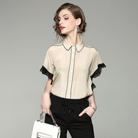 Top Quality Women Summer Blouse 2017 New Brand Runway Fashion 100 Silk Turn Down Collar Shirt