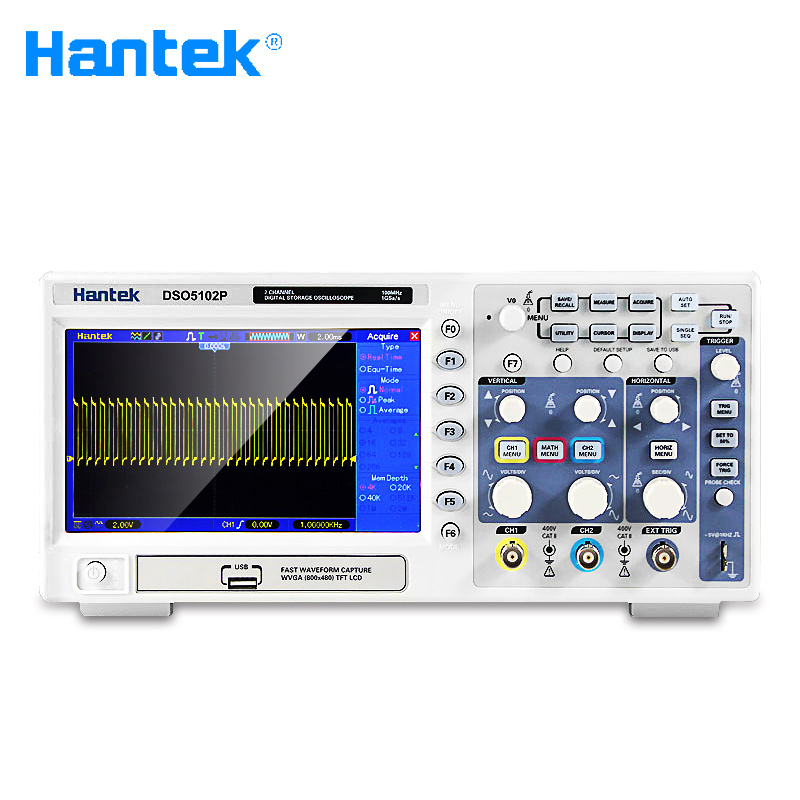 Hantek DSO5102P Digital Oscilloscope Portable 100MHz 2Channels 1GSas Record Length 40K USB LCD Handheld Osciloscopio 7 Inch (2)
