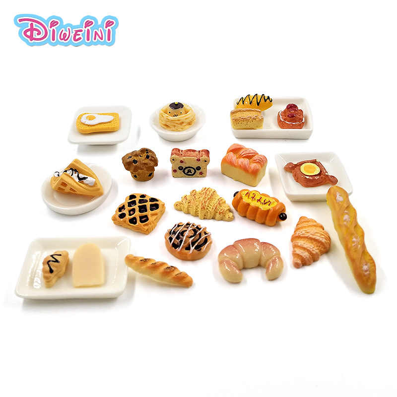 10pcs Simulation Food Breakfast Bread Cake Miniature Pretend play Kitchen Toys Dinner Tableware Doll House Accessories Kids gift