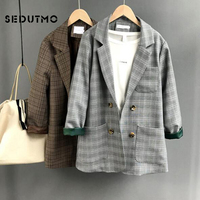 SEDUTMO Autumn Long Plaid Blazer Women Double Breasted Jacket Winter Blazer Suit Office Vintage Pocket Oversize Coat ED450