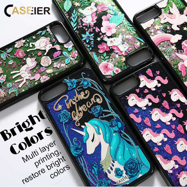 CASEIER Glitter QuickSand Phone Case For iPhone 6 6s 7 8 Plus X Cases Bling Cover For iPhone 6s 7 8 X Funda Capinha Accessories