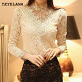 Yeyela mulheres blusas camisas 2017 nova primavera rendas de croché chiffon camisa blusa blusas femininas camisa mulheres do vintage clothing a010