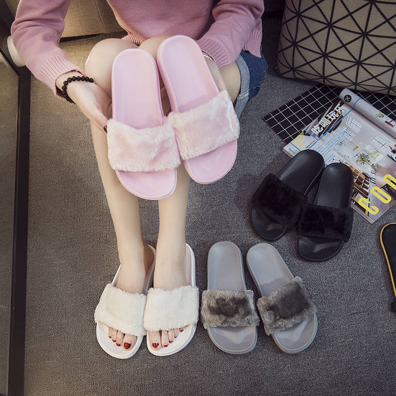 Home Slippers Women Summer Fur Sliders 2018 Beach Fluffy with Feathers Fashion Flip Flops Flat Slides Plush Shoes Ladies Chinelo