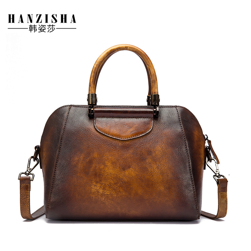 2018 Vintage Design Cow Leather Women Handbag High Quality Satchel Pattern Women Shell Bag Famous Brand Bag Women Messenger Bag
