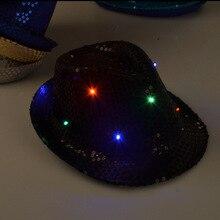 Adulto Mujeres Hombres Fedora Lentejuelas de Luz LED Parpadeante Hasta Jazz Cap Hip Hop Sombreros Tapa Sombrero de Fiesta de Cumpleaños Fiesta de Navidad de La Boda ZA1560