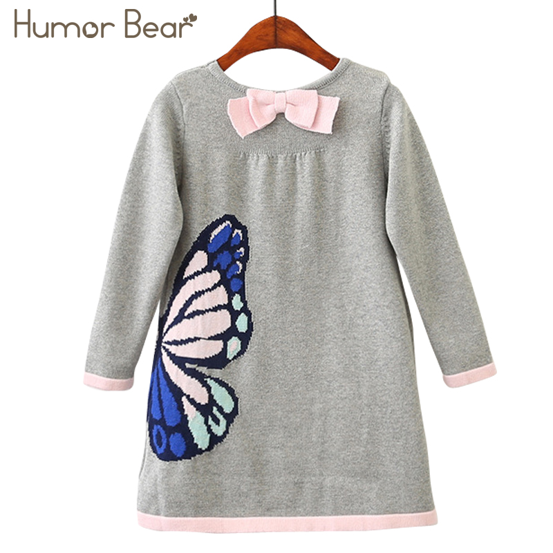 Humor Bear Girls Woolen Sweater 2018 Brands Winter Autumn Girl O-Neck Printed Cartoon Kids Sweater Baby Girls Sweater geometric crew neck space dyed sweater
