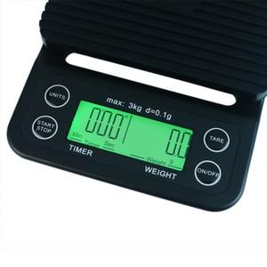Image 4 - Balance électronique Portable avec minuterie 3kg/0.1g LCD balances de café de cuisine numérique outil de pesage balance de bijoux de précision balance