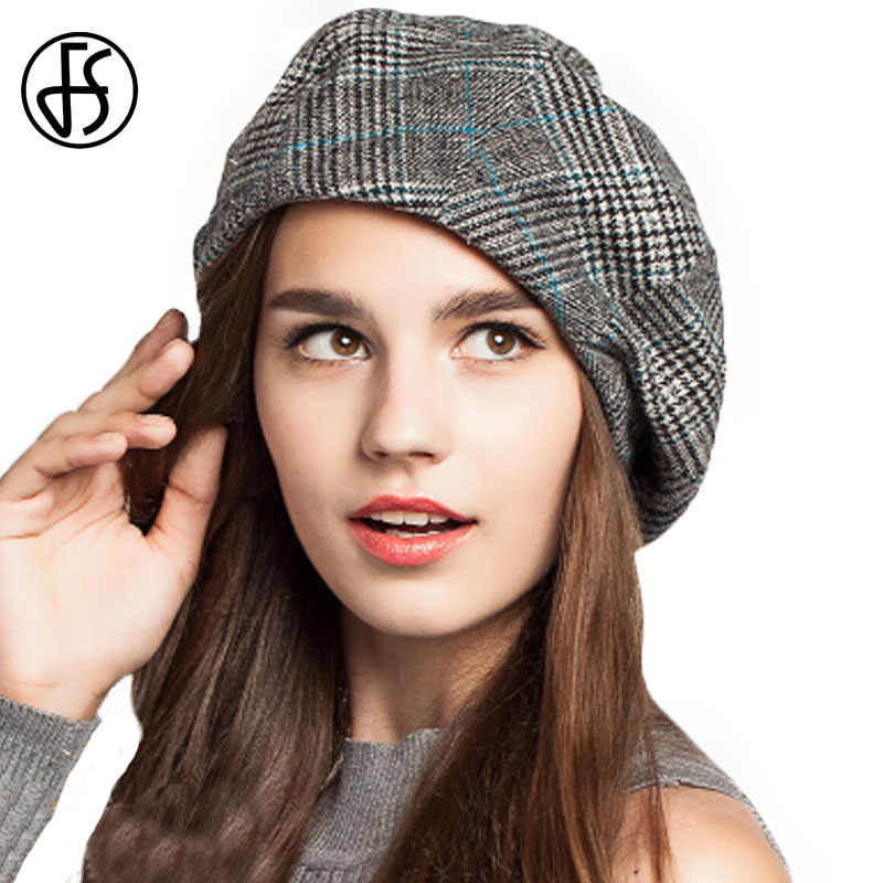 82c2e6d11 ... FS artista francés boina sombrero para las mujeres de mujer de invierno  de moda negro azul ...