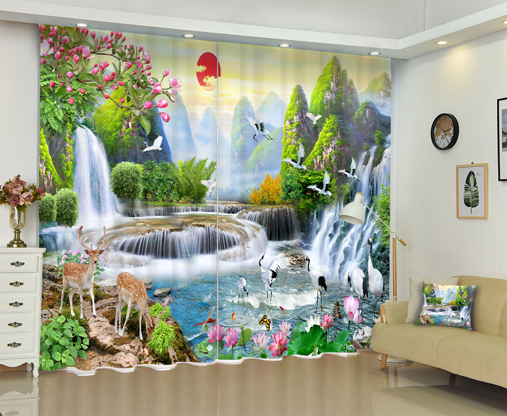 Chinese landscape painting Luxury 3D Window Curtains For Living room Bed room Blackout Drapes Office Hotel