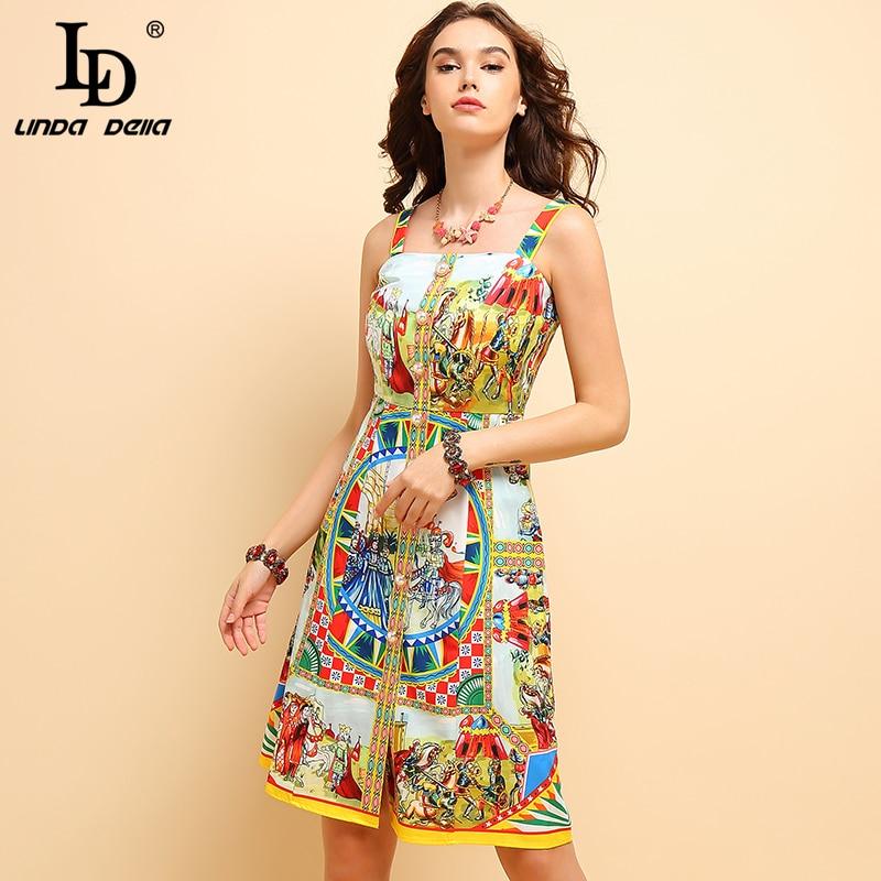 Kadın Giyim'ten Elbiseler'de LD LINDA DELLA Moda Yaz Spagetti kemerli elbise kadın Kolsuz Backless Karakter Baskılı Casual Tatil Midi Elbiseler'da  Grup 1