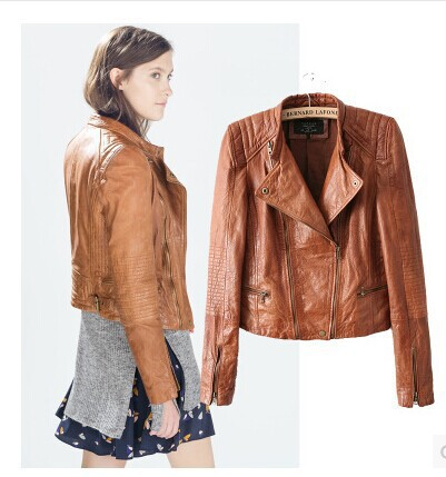 Classical Brown Faux Leather Jacket Coat Women's 2015 Hot Smart ...