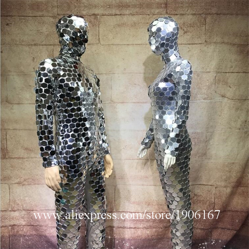 Ballroom dance men robot mirror suit women stage show costumes singer silver clothes models performance catwalk wears dj0