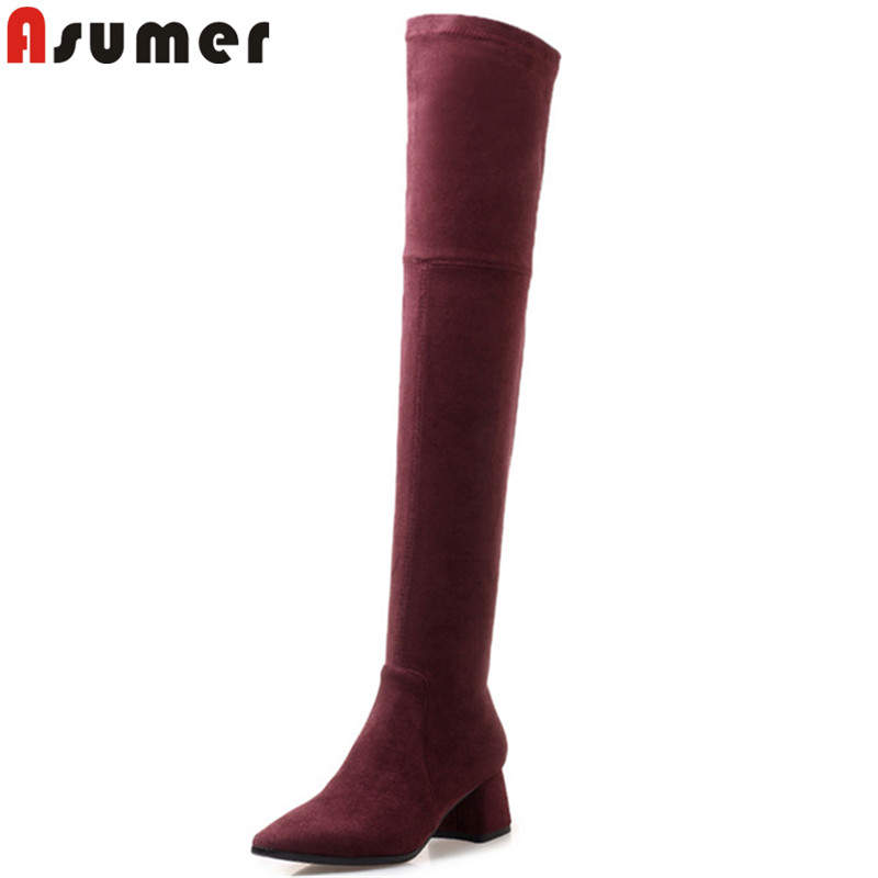 ASUMER 2018 fashion autumn winter boots women pointed toe over the knee boots thick high heels boots faux suede thigh high boots эспадрильи der spur кеды на обычной подошве