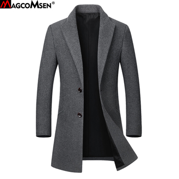 MAGCOMSEN Winter Wool Jackets Men Fashion Woolen Jackets Casual Slim Fit Long Wool Coats Overcoat M-5XL Drop Shopping AG-JF-02