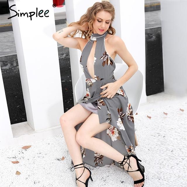 Simplee Sexy halter print lace summer dresses women Boho asymmetrical long dress High waist backless beach dress