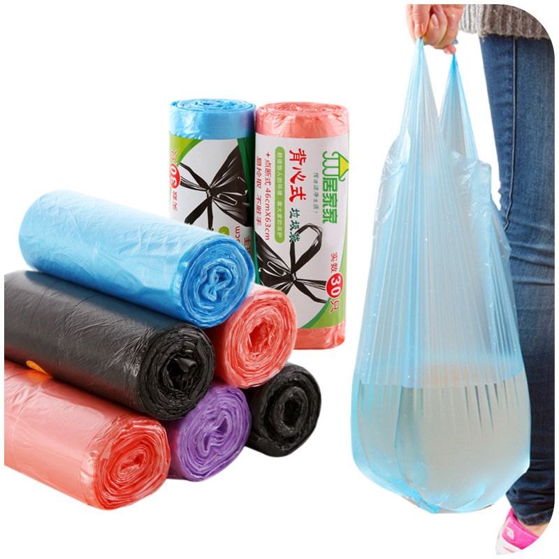 Vest Style Kitchen Garbage Bags Off Point Thicken Portable