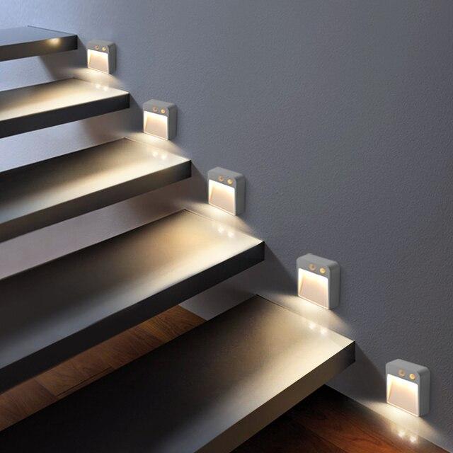 LED ليلة ضوء لاسلكي كاشف AA بطارية تعمل بالطاقة الجدار مصباح PIR محس حركة ليلة مصباح السيارات على/قبالة خزانة الدرج الإضاءة