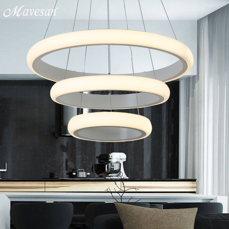 Modern Pendant lights For Living Room Dining Room 3 Rings 35 50 70 cm  Acrylic LED Lamp Home Lighting Fixtures modern led pendant lights for dining living room hanging circel rings acrylic suspension luminaire pendant lamp lighting lampen