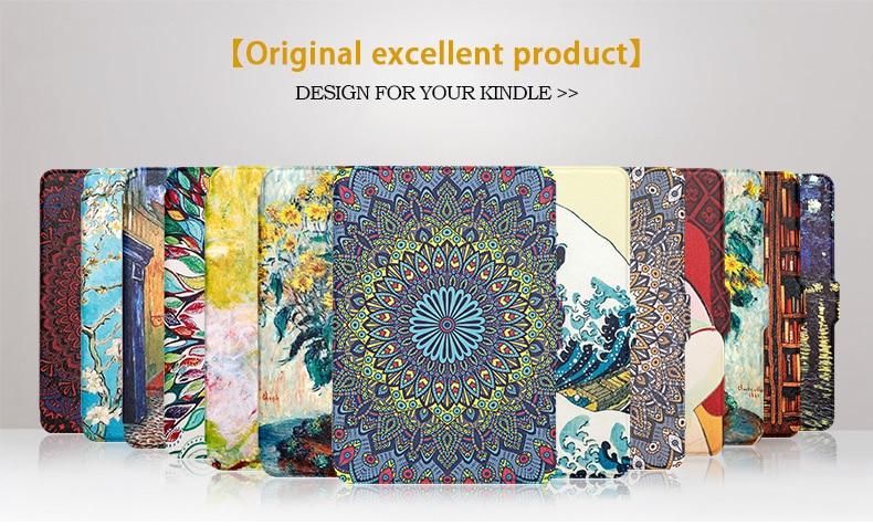 TPU Case For Amazon Kindle Paperwhite 1/2/3 Smart Cover Painting EBook Case For Kindle Paperwhite 1/2/3 With Auto Wake/Sleep