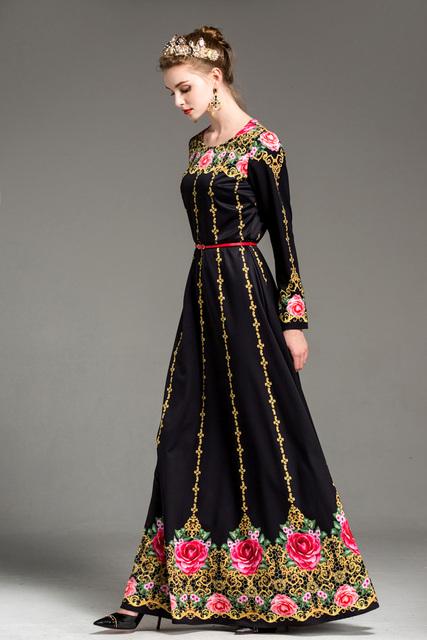 Floral Printed A Line Elegant Party Runway Dresses