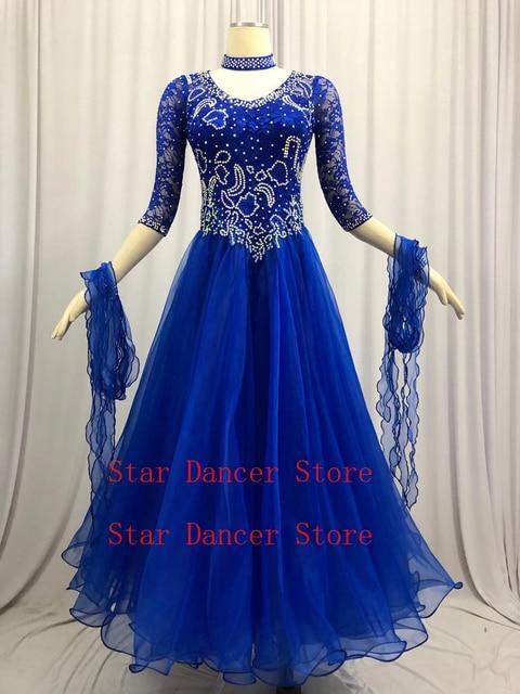 社交ダンス競技ドレス女性の現代ワルツダンスドレスロイヤルブルー標準社交ダンススカート女性