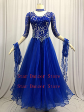 Ballroom Competition Dance Dresses Ladys Modern Waltz Dancing Dress Royal Blue Standard Skirt Women