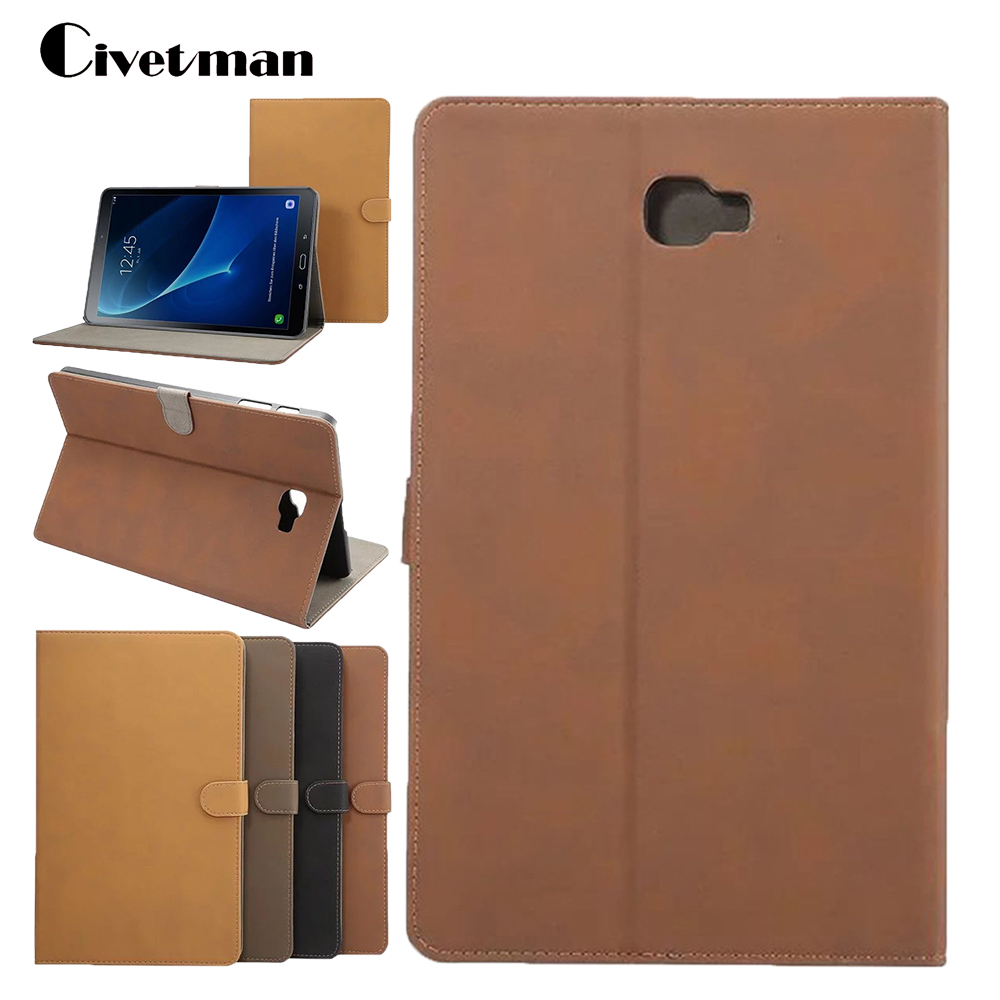 Civetman Tablet Case For Samsung Galaxy Tab A 10.1 T580 T585 Retro Matte Smart Leather Cover Shell Case with Stand Wake up/Sleep civetman for galaxy tab a 9 7 inch case crazy horse pattern flip stand leather smart cover for samsung galaxy t550 nzwaxar