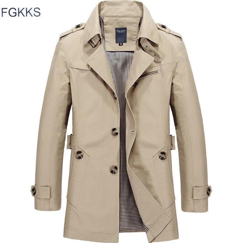 FGKKS 2018 Men Jacket Coat New Fashion Trench Coat Brand Jackets Mens Casual Slim Fit Overcoat Jacket Male Outerwear