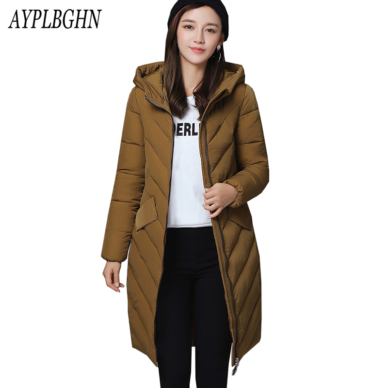 New Winter Long Coat Outerwear Cotton Parkas Hooded Thick Solid Cotton Padded Clothing Slim Casual Padded Jackets Plus size 5L64 new collocation winter warm parkas hooded pockets zipper solid thick women coat slim long flare slim cotton padded lady jackets
