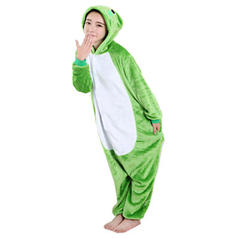 f0f97ca0d7d Flannel Frog Kigurumi Animal Men Green Onesie Jumpsuit Adult Carnival  Pajamas For Women Suit Sleepwear Halloween