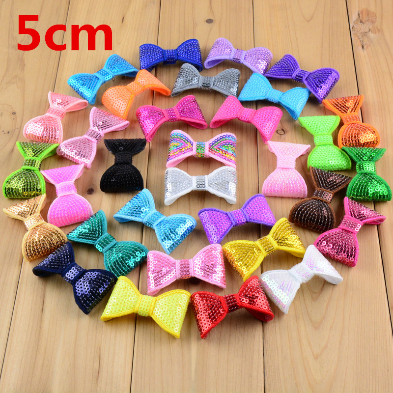 "100pcs/lot Classical 2"" Embroidery Sequin Bows For Headband Boutique Hair Bows Hair Accessories 32color U Pick HDB12"