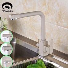 Твердая латунь очистка кухня кран раковины двойные ручки чистой воды смесителя питьевой водопроводной