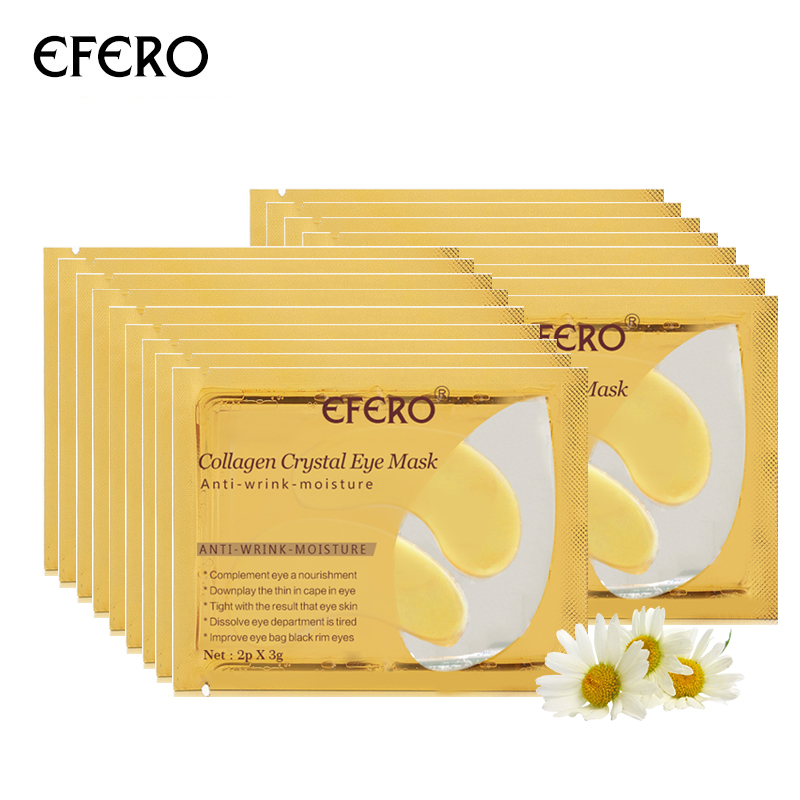 EFERO 7Pair=14PC 24k Gold Powder Crystal Collagen Eye Mask Anti-Aging Eye Patches Pad Eliminates Dark Circle Fine Line Face Care